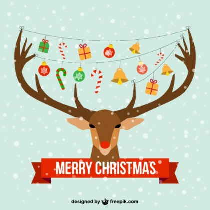 Christmas Card with Reindeer Head Free Vector