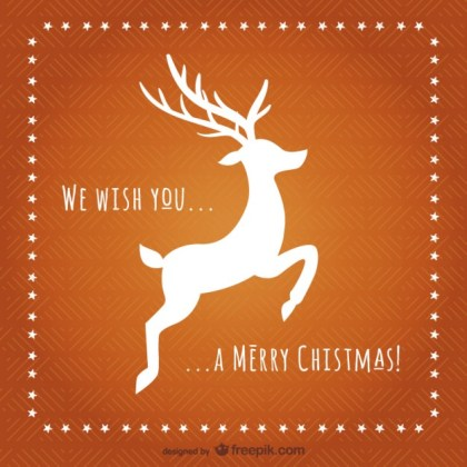 Christmas Card with Reindeer Silhouette Free Vector
