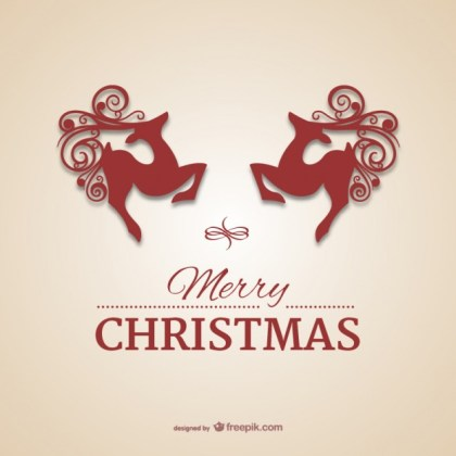Christmas Card with Reindeers Free Vector