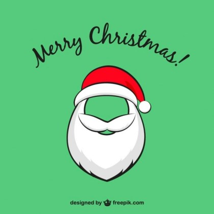 Christmas Card with Santa Claus Beard Free Vector