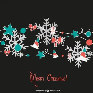 Christmas Card with Snowflakes and Ornaments Free Vector