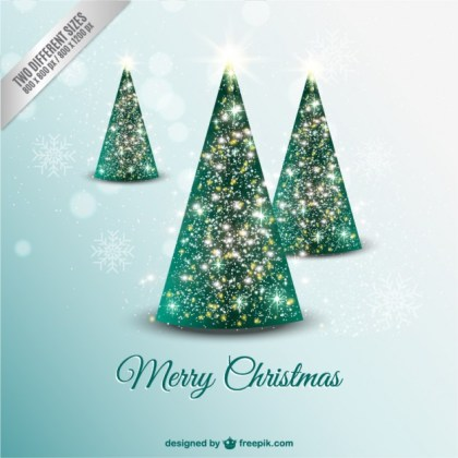Christmas Card with Sparkly Trees Free Vector