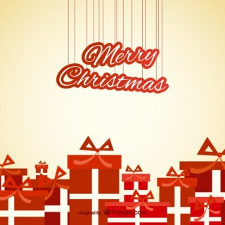 Christmas Card Wtih Red Presents Free Vector
