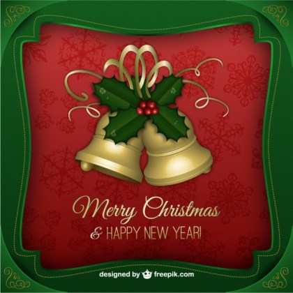 Christmas Greetings Card with Golden Bells Free Vector