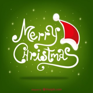 Christmas Greetings with Santa Claus Hat Free Vector