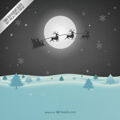 Christmas Illustration with Santa Claus Silhouette Free Vector