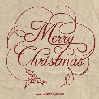 Christmas Lettering with Paper Texture Free Vector