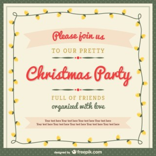 Christmas Party Invitation Template with Ornaments Free Vector