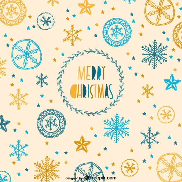 Christmas Pattern with Snowflakes Drawings Free Vector