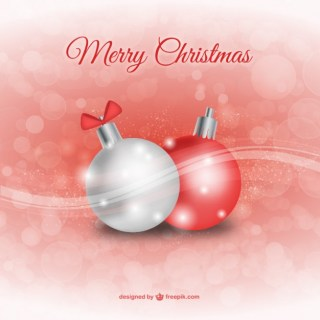 Christmas Red and White Balls Free Vector