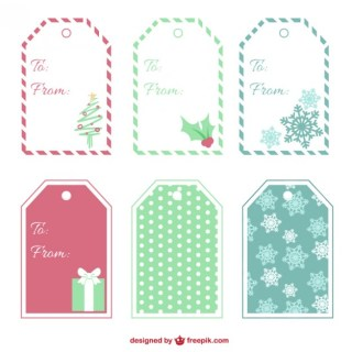 Christmas Tags Collection Free Vector