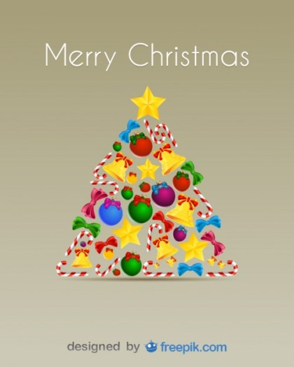 Christmas Tree Done with Candy Canes, Bells, Christmas Balls and Bows Free Vector