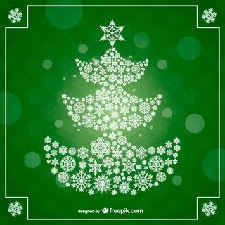 Christmas Tree on Green Background Free Vector