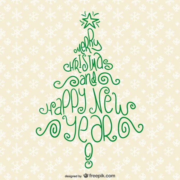 Christmas Tree Typography Free Vector