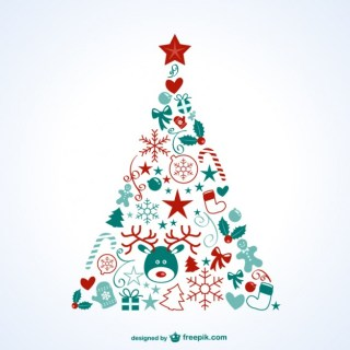 Christmas Tree with Icons Free Vector