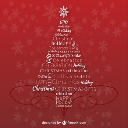 Christmas Tree with Letters Free Vector