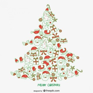 Christmas Tree with Ornaments Free Vector