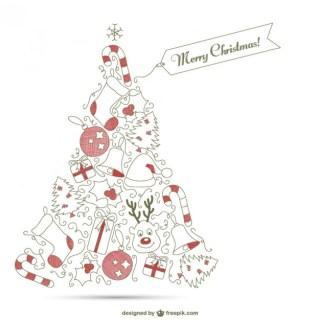 Christmas Tree with Red Ornaments Free Vector