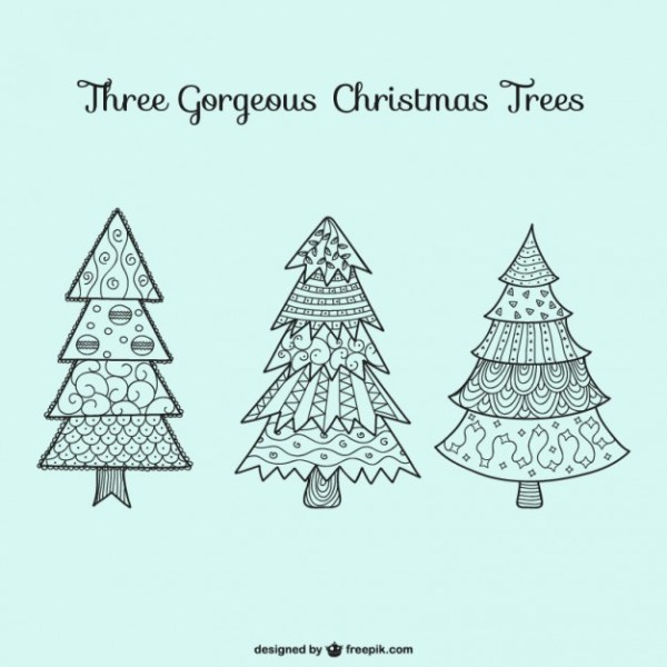 Christmas Trees Drawings Free Vector