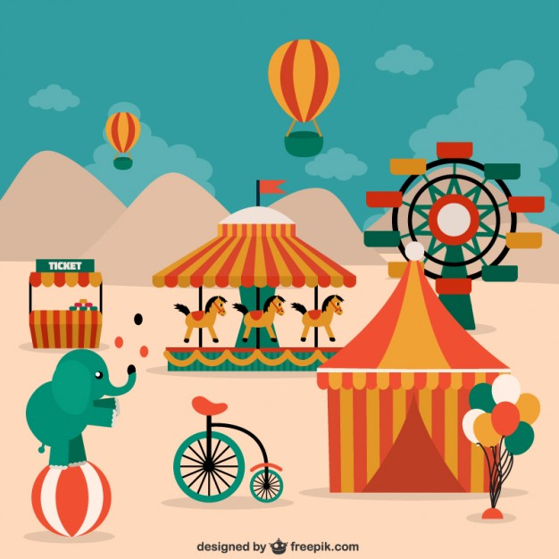 Circus Elements, Animals and Decorations Free Vector