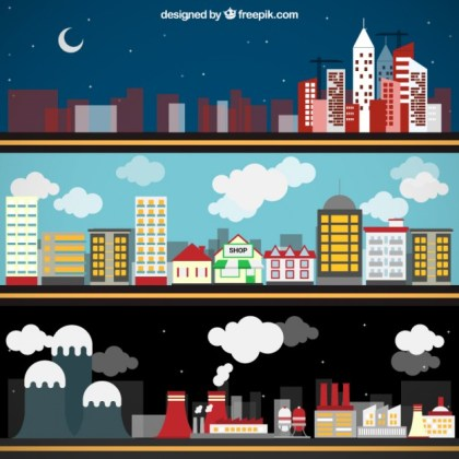 City Banners Free Vector