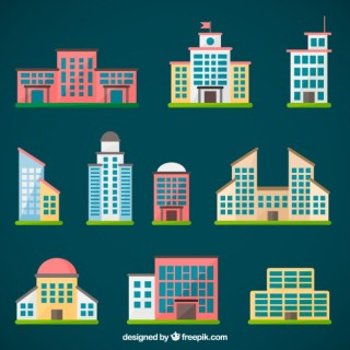 City Buildings Collection Free Vector