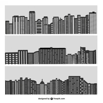 City Buildings Silhouette on Grey Free Vector