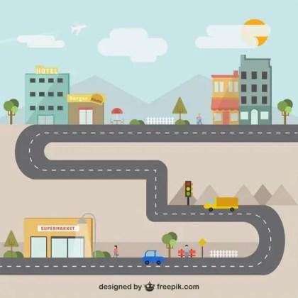 City Illustration Free Vector