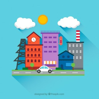 City Street in Cartoon Style Free Vector