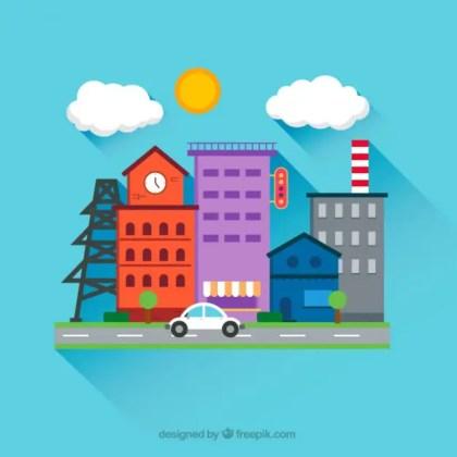 City Street in Cartoon Style Free Vector