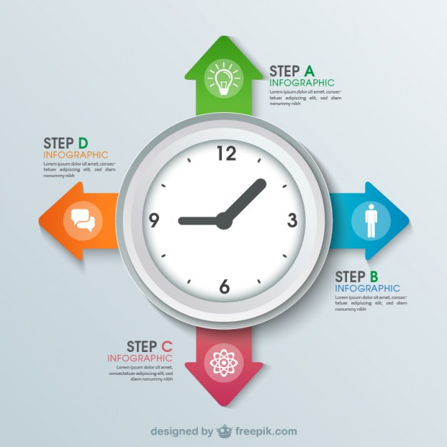 Clock Infography Free Vector