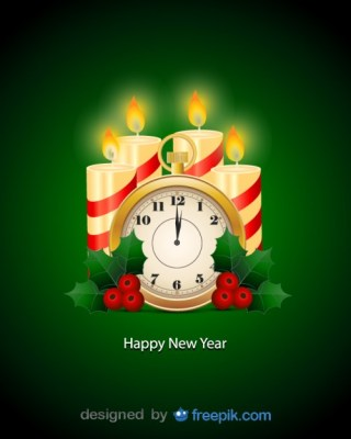Clock with Candles and Holly Ornaments Free Vector