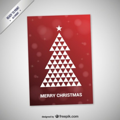 Cmyk Christmas Card with Abstract Tree Free Vector
