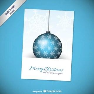Cmyk Christmas Card with Ball Free Vector
