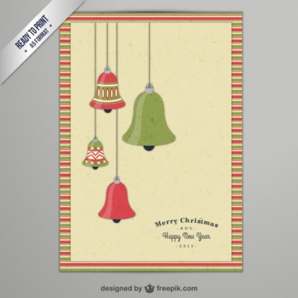 Cmyk Christmas Card with Bells Free Vector