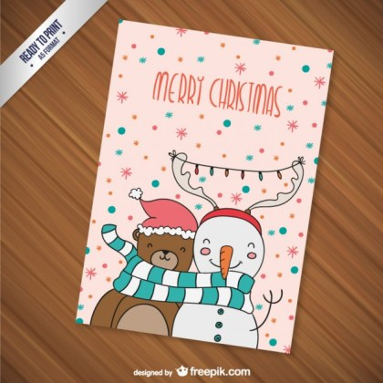 Cmyk Christmas Card with Cartoons Free Vector