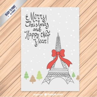 Cmyk Christmas Card with Eiffel Tower Free Vector