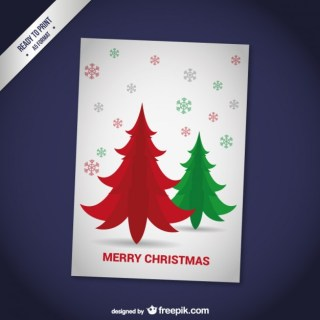 Cmyk Christmas Card with Red and Green Trees Free Vector