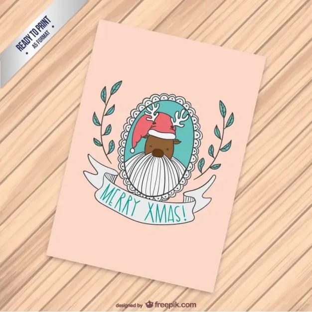 Cmyk Christmas Card with Santa Claus Reindeer Free Vector