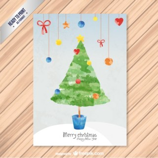 Cmyk Christmas Card with Watercolor Tree Free Vector