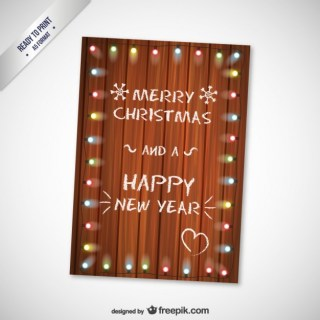 Cmyk Christmas Card with Wooden Texture Free Vector