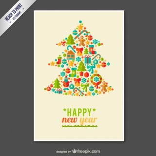 Cmyk Christmas Greetings with Tree Free Vector