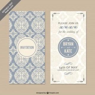Cmyk Floral Wedding Invitation Free Vector