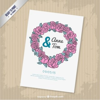 Cmyk Floral Wedding Invitation Free Vector