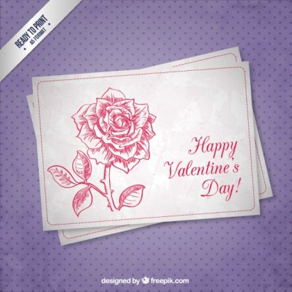 Cmyk Valentine Card with Flower Free Vector