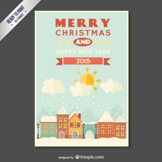 Cmyk Vintage Christmas and New Year Card Free Vector