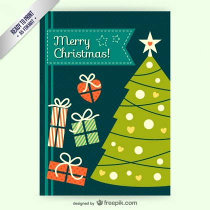 Cmyk Vintage Christmas Card Free Vector
