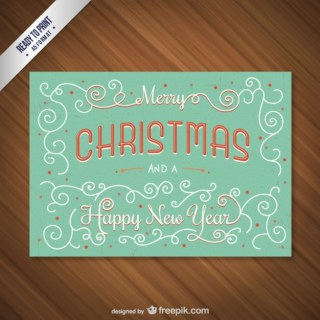 Cmyk Vintage Christmas Card with Lettering Free Vector