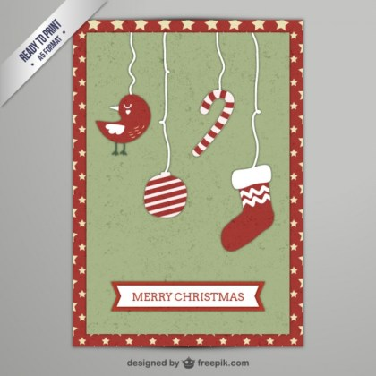 Cmyk Vintage Christmas Greeting Card Free Vector