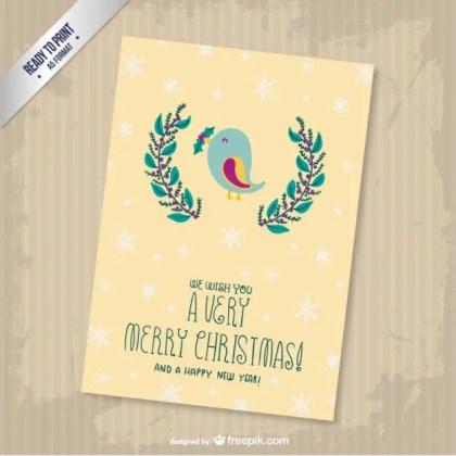 Cmyk Vintage Christmas Greetings Card Free Vector